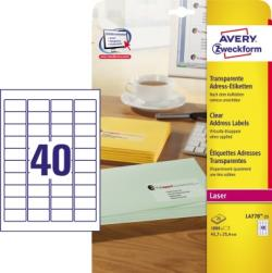 Avery Zweckform Adressetikett L4770-25 transparent 1000 St./Pack.