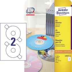 Avery Zweckform CD/DVD-Etikett L6043-25 117mm weiß 50 St./Pack.